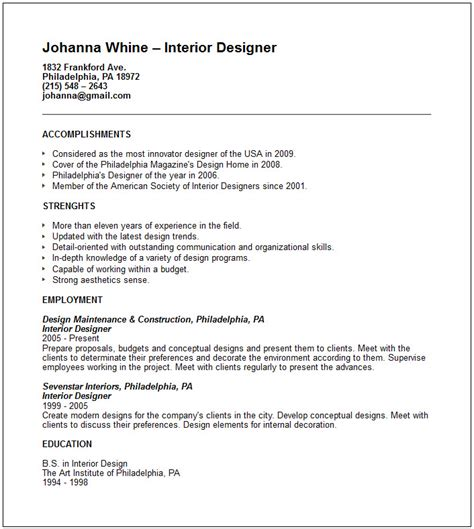 Resume Exles In Design Interior Designer Resume Exle Free Templates Collection