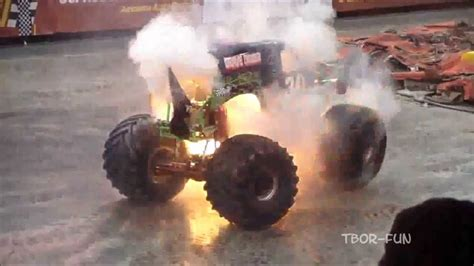 monster truck show accident v twin diesel motorcycle