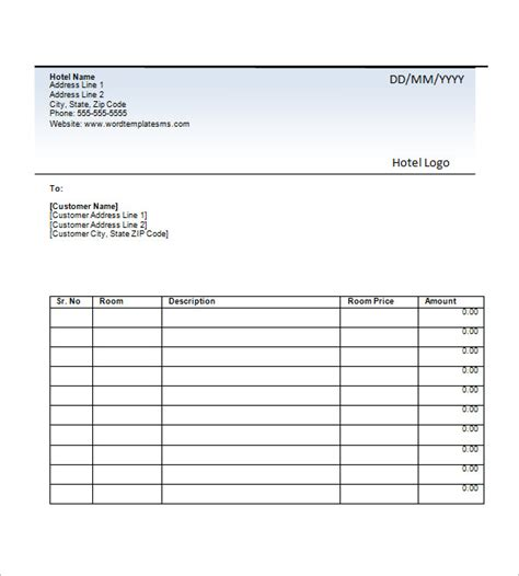 customer receipt template excel hotel invoice template excel printable receipt template