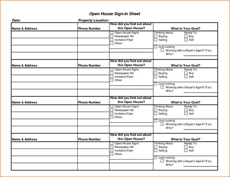 realtor open house sign in sheet template 8 open house sign in sheet templatereference letters
