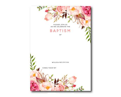 invitation template free awesome free template free printable baptism floral