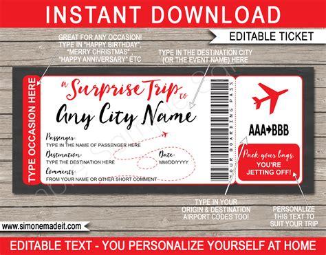 printable surprise trip boarding pass template surprise