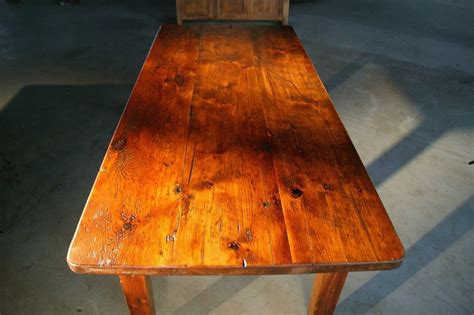 made thick top farm tables with brown cherry finish