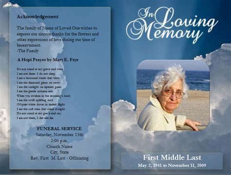 memorial program exles word excel pdf