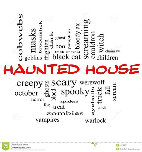 in house synonym haunted house word cloud concept in red black royalty free stock photography image