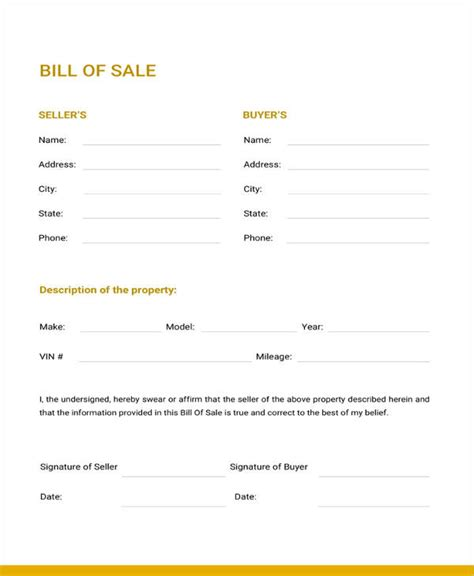 Generic Bill Of Sale Template 12 Free Word Pdf Document Downloads Free Premium Templates Generic Bill Of Sale Template Free
