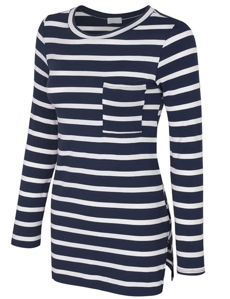 Yt Top Blouse Valen Navy sleeve striped tunic top with chest pocket kogmo