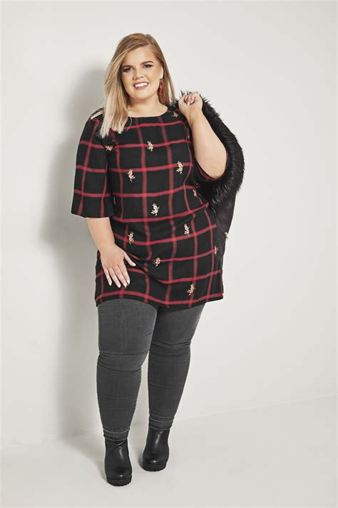 Minimal Embroidery Tunic black check tunic with embroidery plus size 16 to 36