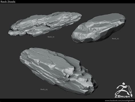 Tutorial Zbrush Rock | zbrush brushes 18 stylized rock brushes download sence