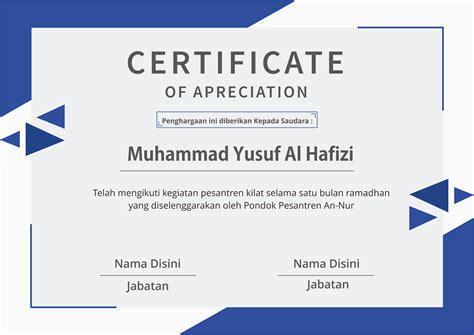 desain template sertifikat pesantren kilat vektor