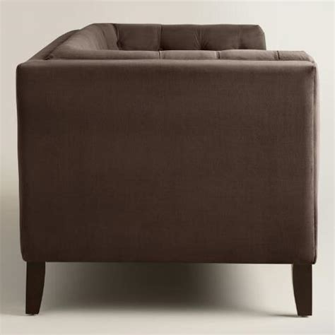 chocolate brown velvet sofa chocolate brown velvet kendall sofa world market