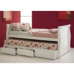 Pull Out Guest Beds Uk Hyder Pulka Sleigh White Guest Bed With Pull Out Trundle