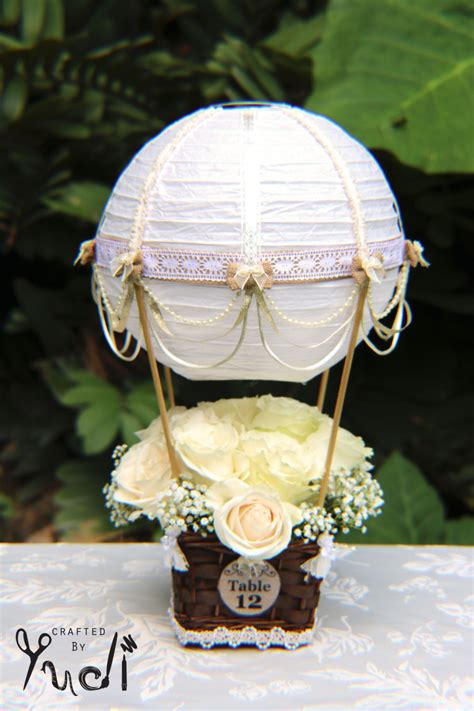 hot air balloon wedding table number centerpiece by