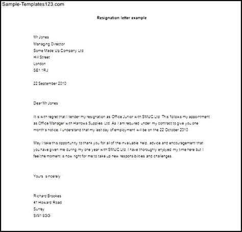 formal letter of resignation template word doc sle