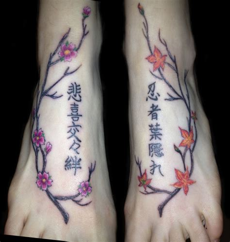 kanji ankle tattoo japanese trees and kanji foot tattoo by nutmeglthompson on
