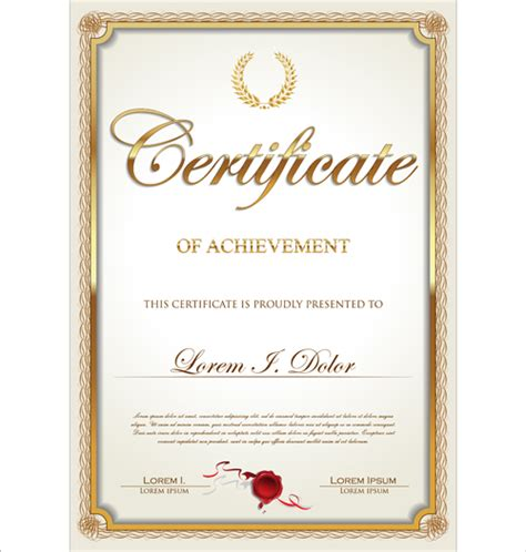 certificate format eps exquisite certificate frames with template vector 03