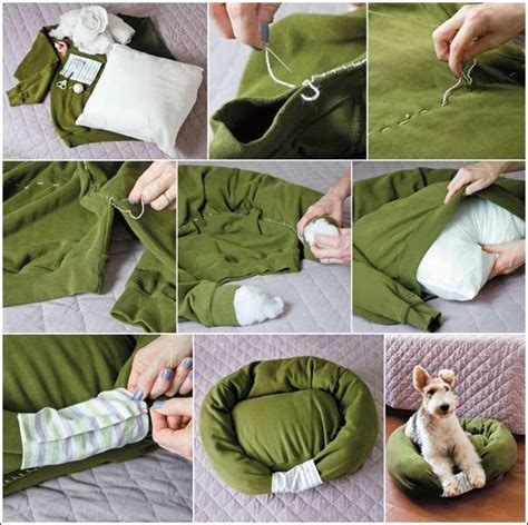 diy dog bed pillow recycle a sweater into a cat or dog bed