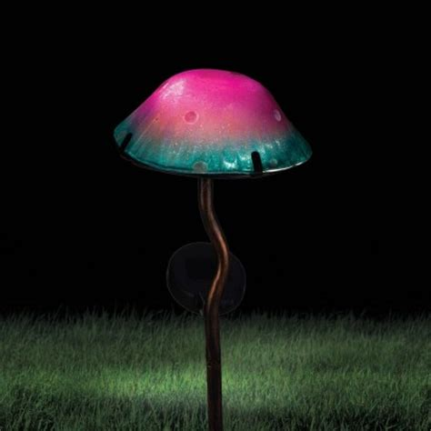glass mushroom solar lights solar powered toadstool garden stake light