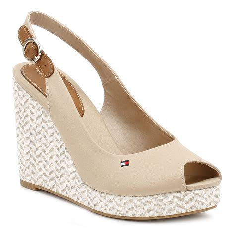 Heels 10cm hilfiger womens wedge sandals peep toe ankle