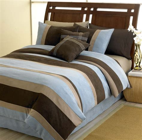 jacaranda striped blue bedding microsuede 6 pc luxury bed