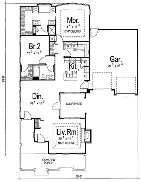 traditional style house plan 2 beds 2 baths 1586 sq ft