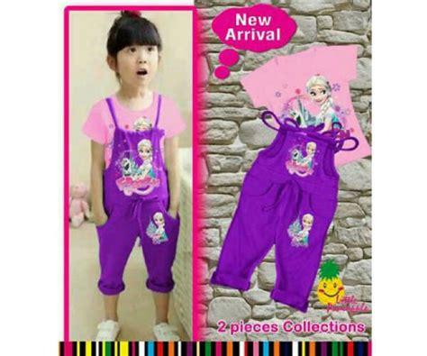 Jumpsuit Denim Untuk Anak Perempuan jual baju jumpsuit anak perempuan frozen ungu jsg 1118