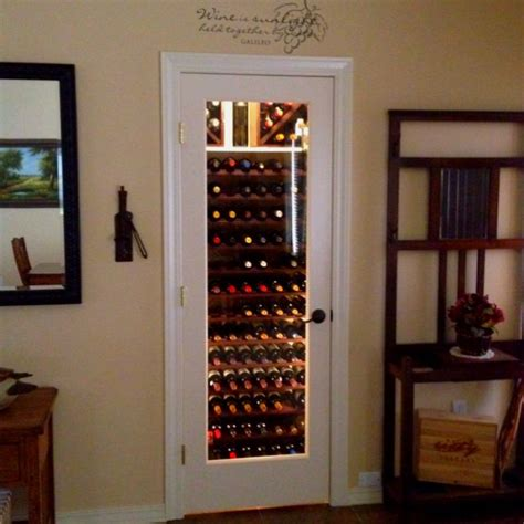glass door wine storage my entryway closet wine cellar replace door with glass