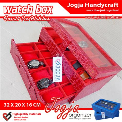 Top Quality Box Kotak Tempat Jam Tangan Isi 12 Mocca croco box for 24 watches kotak tempat jam