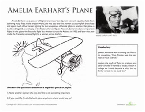 amelia earhart biography for middle school national treasures amelia earhart s plane worksheet