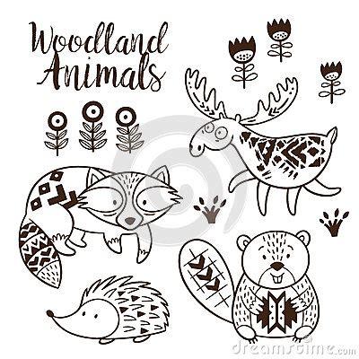 decorative ornamental woodland animals vector set stock