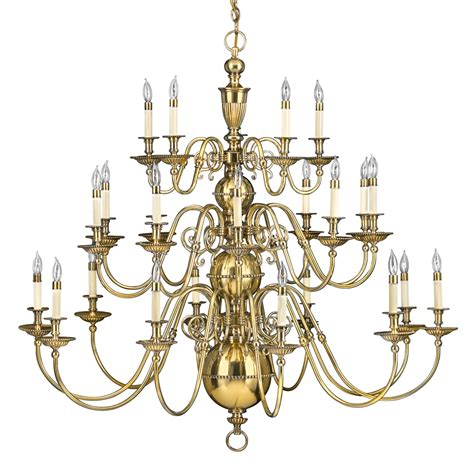 Classic New England Colonial Solid Brass Chandelier Brass Chandelier