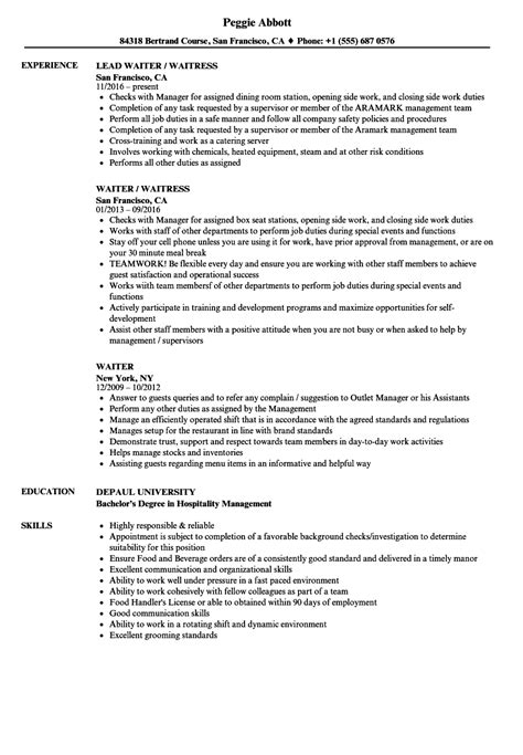 Waiter Resume by Sle Waitress Resume Talktomartyb