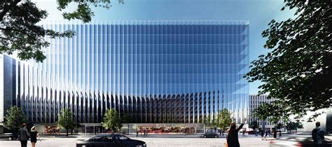 Glass Box Architecture by Rex Unveils A Fluted Glass Office Building In Washington