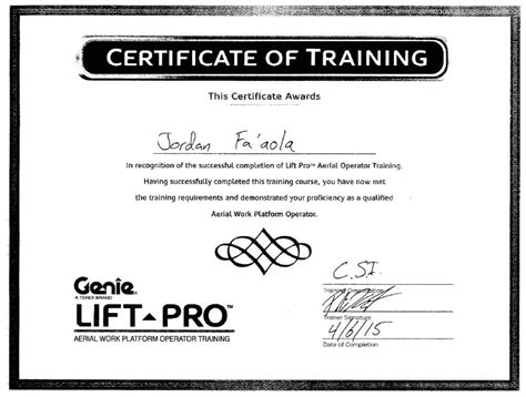 Aerial Lift Certification Card Template The Hakkinen Scissor Lift Certification Card Template