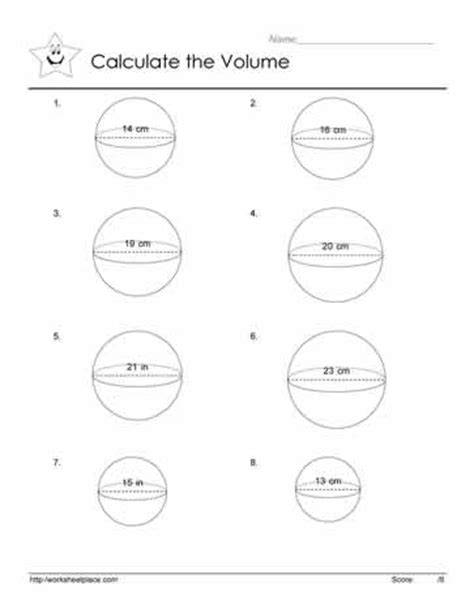 Volume Of A Sphere Worksheet by Volume Of A Sphere Worksheets