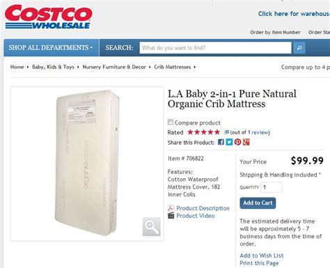 costco baby crib mattress l a baby 2 in 1 organic crib mattress