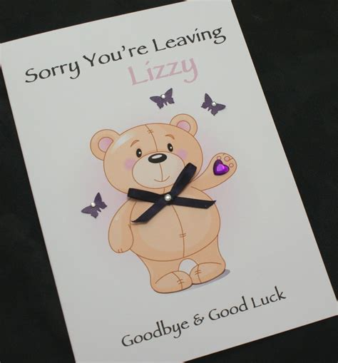 large handmade personalised sorry you re leaving card