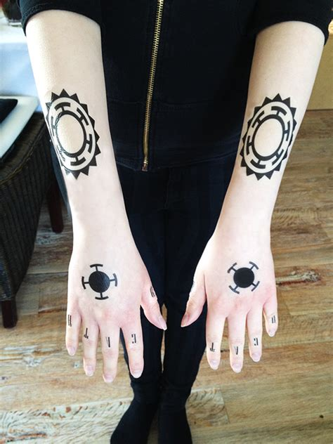 one piece tattoo on hand tattoo faking practice trafalgar law one piece by