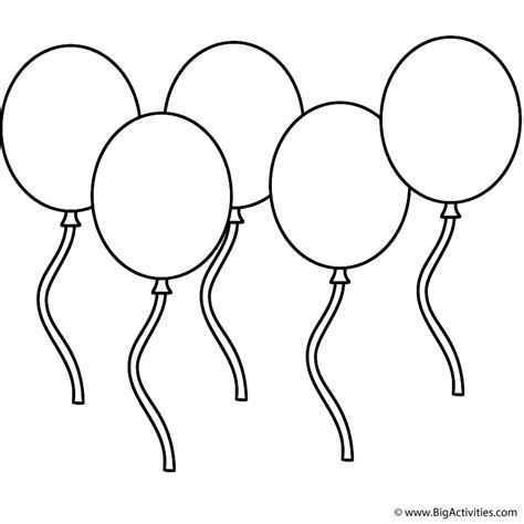 five balloons coloring page new years