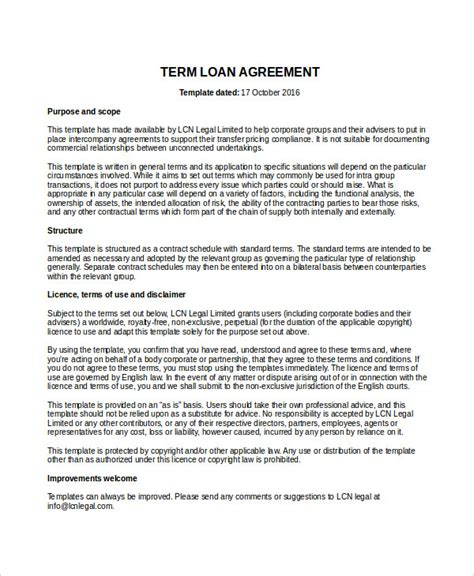 term loan agreement template loan agreement template 14 free word pdf document