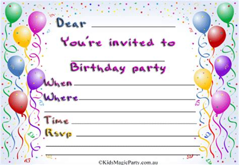 Printable Birthday Invitation Cards Free Printable Birthday Party Invitations Theruntime Com