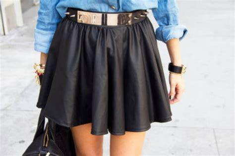 skirt leather summer belt golden denim shirt leather