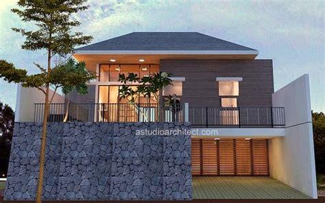 desain garasi mobil bawah tanah rumah luas dengan model villa 12 x 25 m lahan desain siap