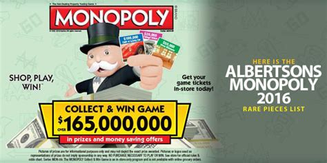 Albertsons Monopoly Sweepstakes - here is the albertsons monopoly 2016 rare pieces list