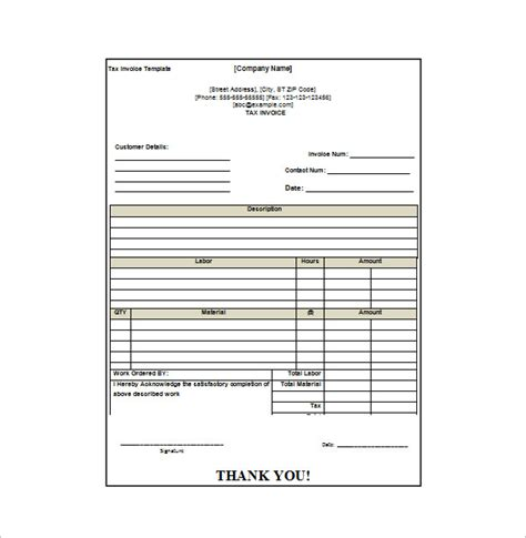 Invoice Receipt Template Word Invoice Exle Microsoft Word Receipt Template