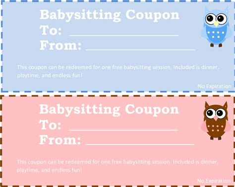 Showers Pass Coupon Code by Printable Babysitting Coupons Free Baby Sitting Voucher