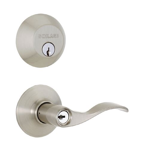 Shop Schlage Accent Traditional Satin Nickel Single Lock Schlage Exterior Door Locks