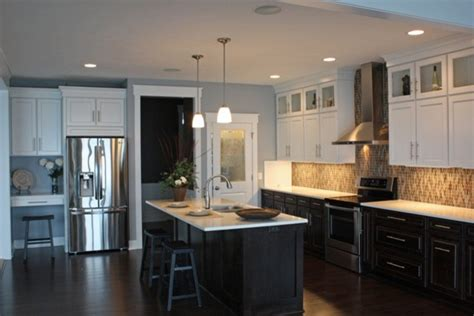 dark and light kitchen cabinets black lower and white upper kitchen cabinets remodeling
