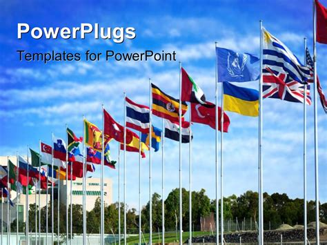 Powerpoint Template Different Flags Of The World Flapping In The Wind With Nature 12425 Flags Of The World Powerpoint