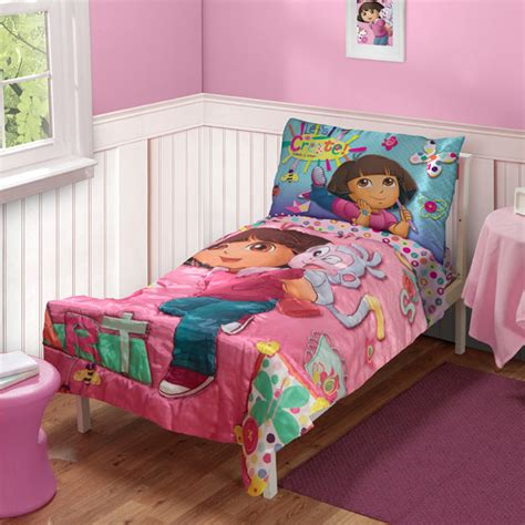 dora toddler bed dora explorer satin art toddler bedding set 4pc boots